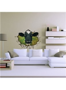 Cow Poke its Head Through Wall Hole Removable 3D Wall Sticker