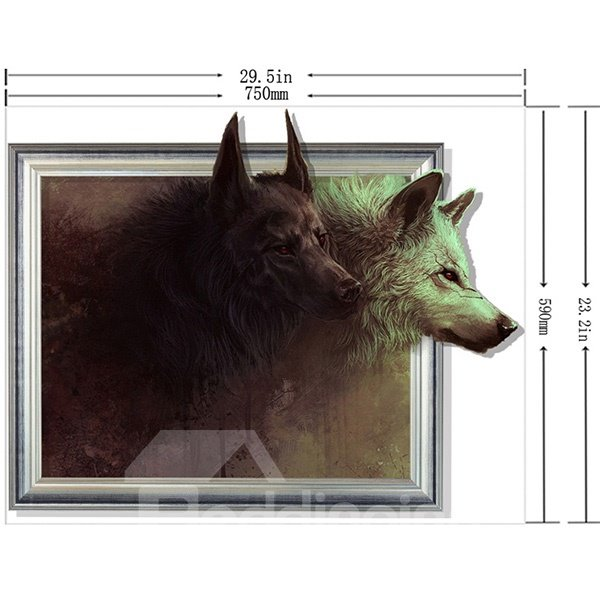 Wild Wolf Framed Picture Removable 3D Wall Sticker