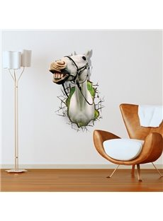 Vivid White Horse Through Wall Hole Removable 3D Wall Sticker