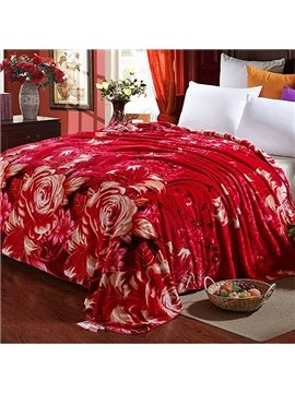 Festive Red Flowers Design Smooth & Soft Flannel Blanket