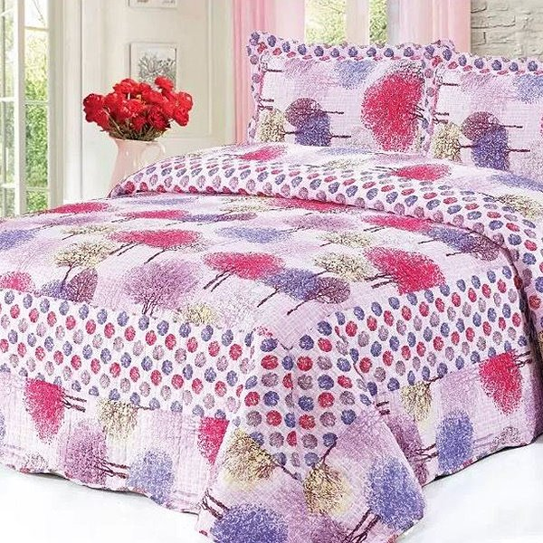 Fancy Colorful Trees Print Cotton 3-Piece Bed in a Bag