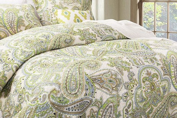 Classy Green Phoenix Tail Print 3-Piece Cotton Bed in a Bag