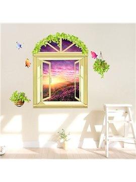 Breath-taking Window View Flowered Hills 3D Wall Stickers