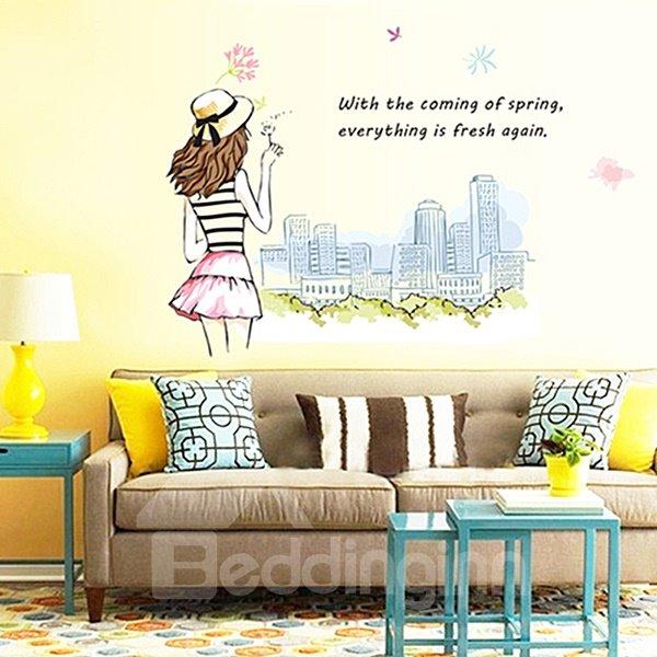 Beautiful Fashionable Girl and Big City Skyline Removable Wall Sticker