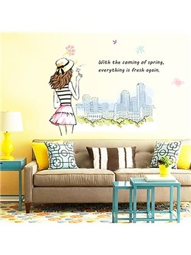 Beautiful Fashionable Girl and Big City Skyline Removable Wall Sticker