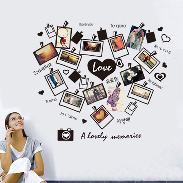 I love You Heart-Felt Love Wall Photo Frame Removable Wall Sticker