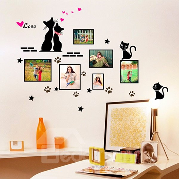 Cartoon Loving Cats Wall Photo Frame Removable Wall Sticker