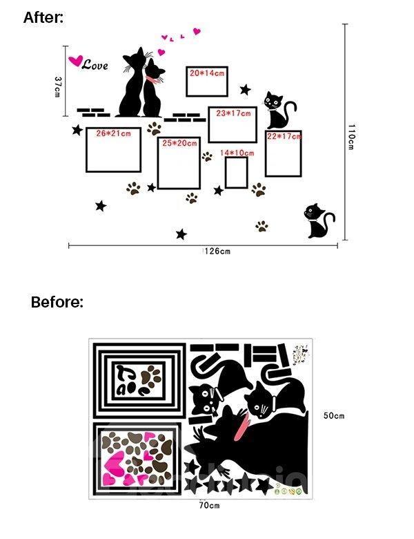 Cartoon Loving Cats Wall Photo Frame Removable Wall Sticker
