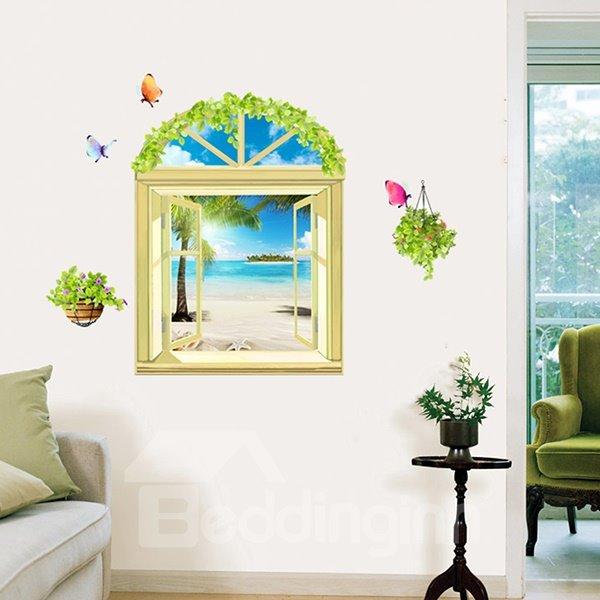 Wonderful Window View Summer Beach 3D Wall Stickers