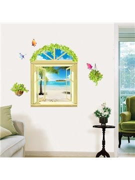 Wonderful Window View Summer Beach 3D Wall Stickers