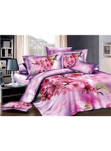 Rosy Peach Blossom Reactive Printing 4-Piece Duvet Cover Sets