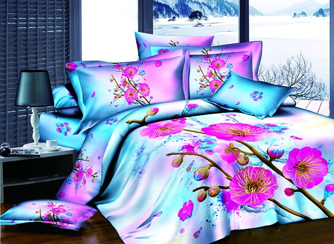 3D Rosy Peach Blossom and Bud Printed Cotton 4-Piece Bedding Sets/Duvet Covers 11488157