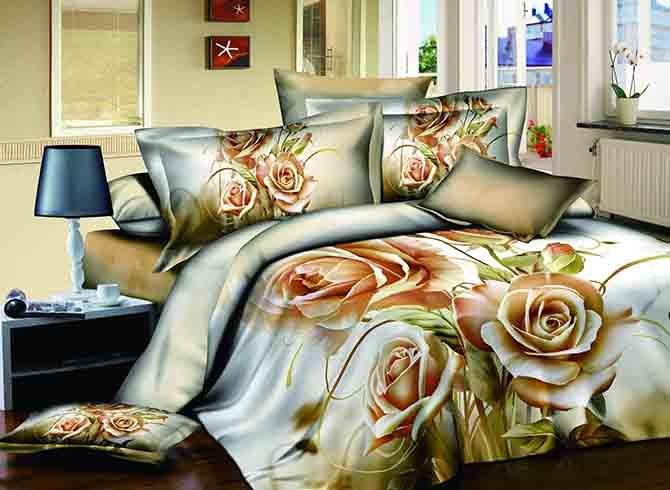 Exquisite Noble Three Champagne Flowers Print 4-Piece Cotton Duvet Cover Sets