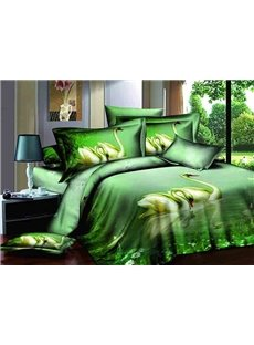Elegant Two Swans on Lack Print Green 4-Piece Cotton Duvet Cover Sets