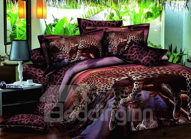 Lying Leopard Print 100% Cotton 4-Piece Duvet Cover Sets