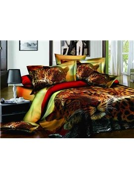 Cool Unique 3D Leopard Reactive Printing 4-Piece Duvet Cover Sets