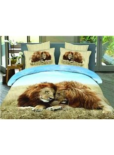 Snuggling Lion Couple Print 4-Piece Cotton Duvet Cover Sets