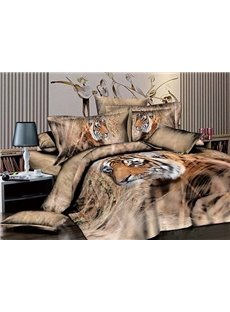 Strong Tiger Wandering in Grass Print 4-Piece Duvet Cover Sets