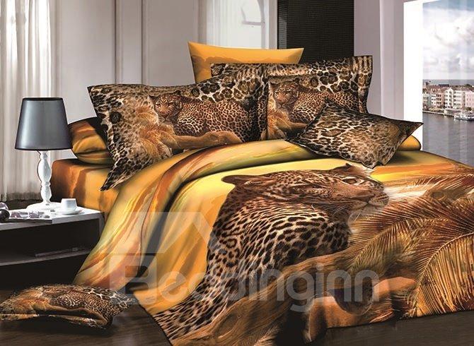 Powerful 3D Leopard Reactive Printing 4-Piece Cotton Duvet Cover Sets