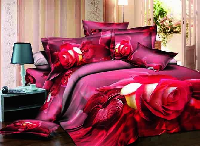 Vivid Rose Reactive Printing Cotton 4-Piece Duvet Cover Sets
