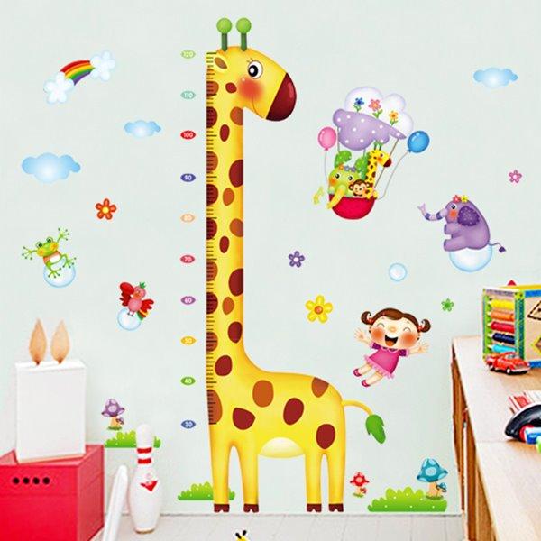 Long-Neck Cartoon Giraffe Nursery Growth Chart Removable Wall Sticker