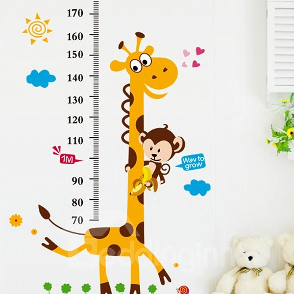 Cartoon Giraffe and Monkey Nursery Growth Chart Removable Wall Sticker