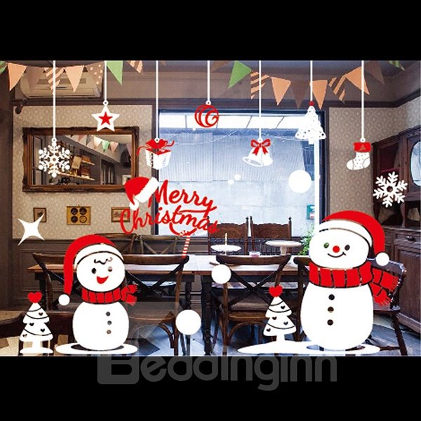 Festival Christmas Snow Man Window Glass Removable Wall Sticker