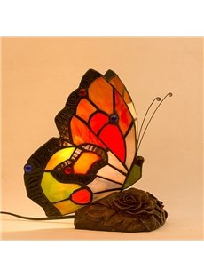 Vintage European Butterfly Nightlight Tiffany Bedside Lamp
