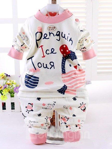 Cute Pink Little Penguin 100% Cotton Kids Pajamas