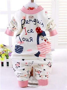 Cute Pink Little Penguin 100% Cotton Kids Pajamas