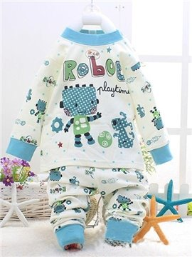 Blue Robot and Dog Play Football Print Kids Pajamas