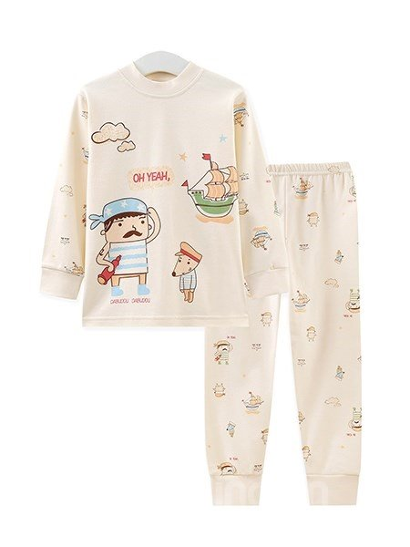 Mustache Captain and Sailing Boat Print Kids Pajamas