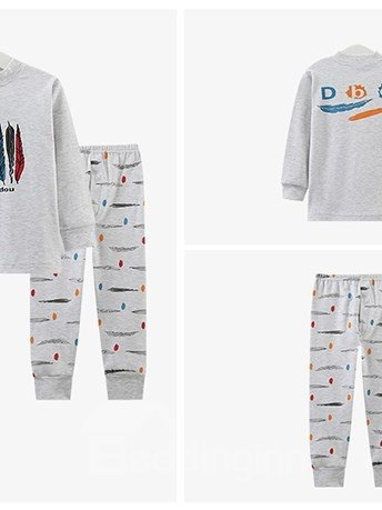 Unique Ethnic Colorful Feather Pattern Kids Pajamas