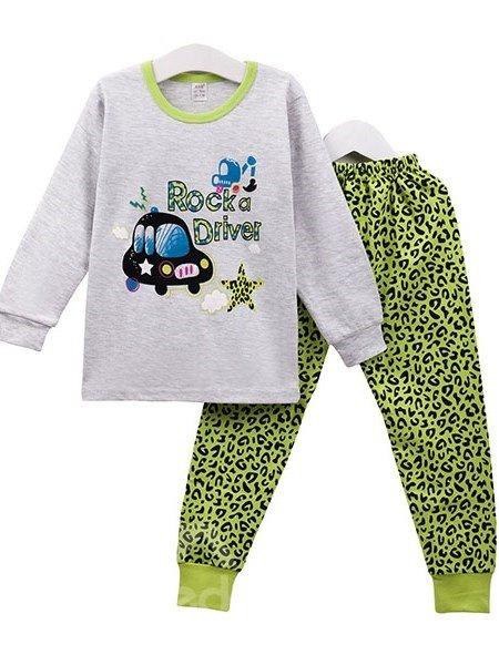 Trendy Green Leopard Pattern Kids Cotton Pajamas
