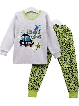 Trendy Green Leopard Pattern Kids Cotton Pajamas