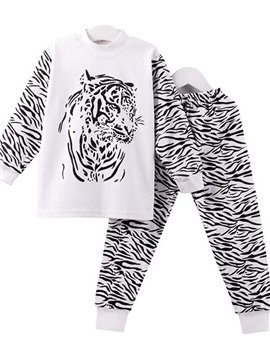 Amazing Tiger Stripes Print Organic Cotton Kids Pajamas