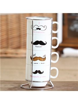 Creative Moustache 4-Piece Ceramic Coffee Mug Sets
