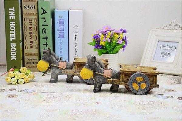 Cute Donkey Pull a Cart Resin Ashtray Desktop Decoration