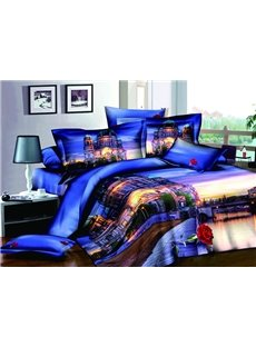 Castle Scenery Print Blue Background 4-Piece Cotton Duvet Cover Sets
