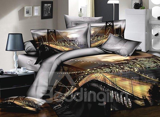 Bay Bridge Printing 4-Piece Cotton Duvet Cover Sets