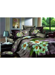 Refreshing Floral Printing Luxury 100% Cotton 4-Piece Duvet Cover Sets