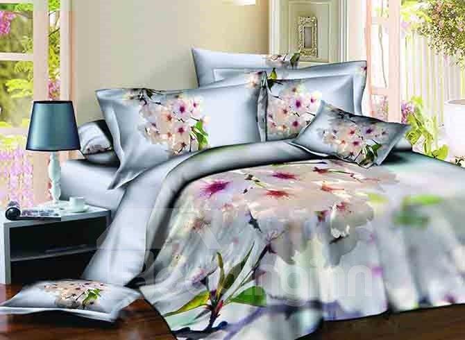 Elegant White Floral Design Light Blue 4-Piece Cotton Duvet Cover Sets