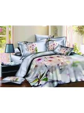 Elegant White Floral Design Light Blue 4-Piece Cotton Duvet Cover Sets