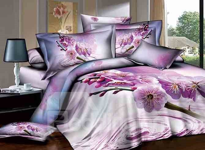 3D Dewy Purple Peach Blossom Printed Cotton 4-Piece Bedding Sets/Duvet Cover 11488759