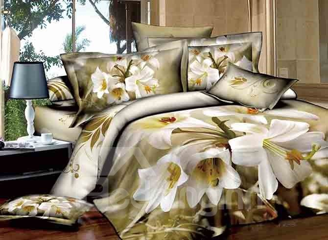 Graceful White Lily Print European Style 4-Piece Cotton Duvet Cover Sets
