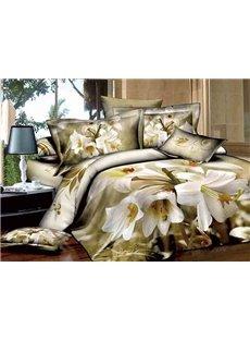 Graceful White Lily Print European Style 4-Piece Cotton Duvet Cover Sets
