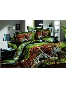 Two Blusterous Leopards on Grass Print Green 4-Piece Duvet Cover Sets