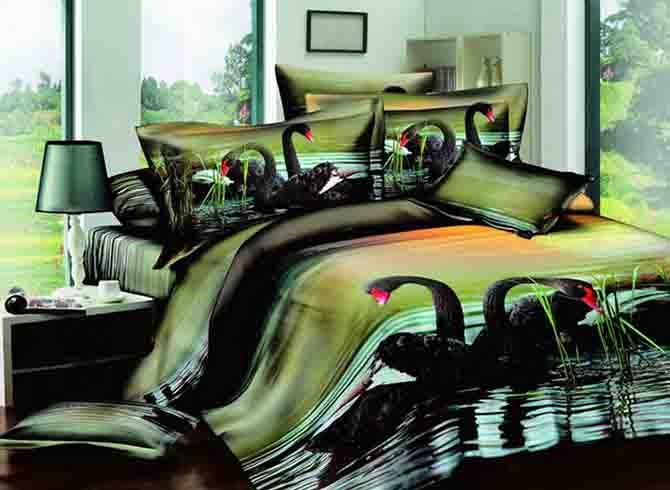 Black Swans on Lake Reactive Printing 4-Piece Cotton Duvet Cover Sets
