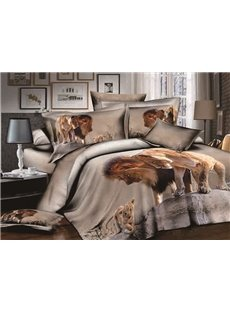 Powerful Lion Print Soft 100% Cotton 4-Piece Duvet Cover Sets