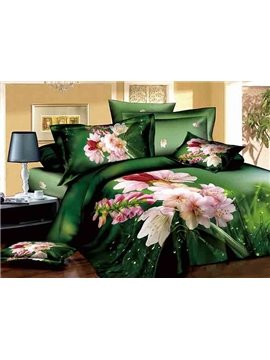 Pastoral Pink Flowers Dewy Grass Design Green 4-Piece Cotton Duvet Cover Sets